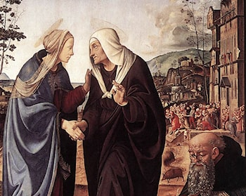 The Visitation with Sts Nicholas and Anthony  [detail #1] by Piero di Cosimo
